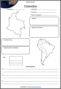 colombia geography worksheets countries of world