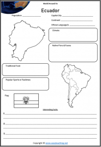 ecuador geography worksheets countries of world