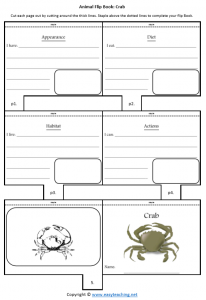 animal worksheets crab flipbook diet habitat