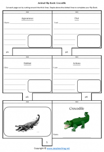animal worksheets crocodile flipbook diet habitat