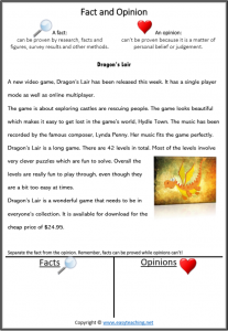 fact vs opinion worksheets reading passage reading strategy video game dragon
