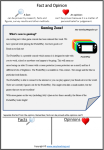 fact and opinion reading passage reading strategy video games