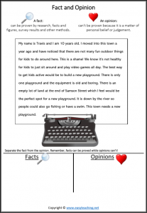 fact vs opinion worksheets reading passage reading strategy letter editor