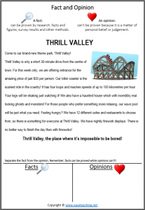 fact and opinion reading passage reading strategy thrill valley