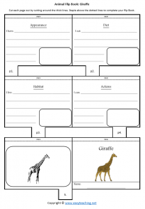 animal worksheets giraffe flipbook diet habitat