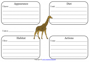 giraffe learning sheet science