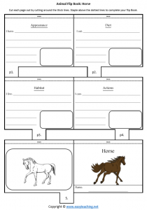 animal worksheets horse flipbook diet habitat