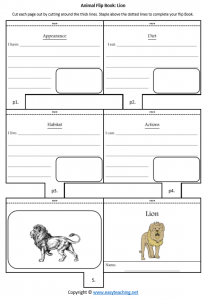 animal worksheets lion flipbook diet habitat