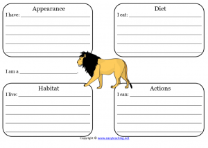 lion animal worksheets science