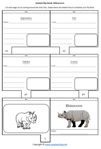 animal worksheets rhinocerosflipbook diet habitat