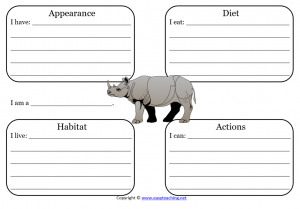 rhinoceros sheet science animals learning