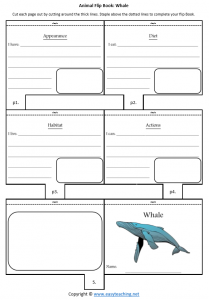 animal worksheets blue whale flipbook diet habitat