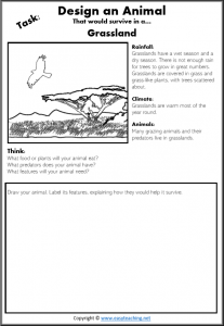 design an animal grassland habitat worksheet science