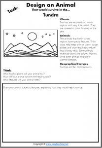 design an animal polar tundra arctic habitat worksheet science