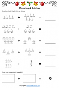 christmas maths addition worksheet adding