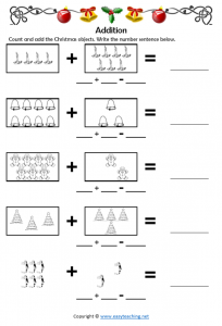 christmas worksheets maths plus addition activity fun