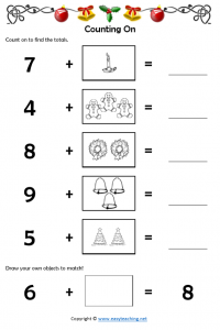 christmas maths counting on worksheet addition