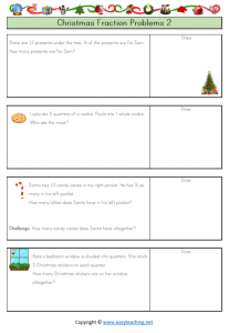christmas worksheets christmas fractions fun