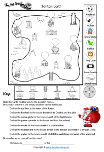 christmas worksheets map skills fun directions