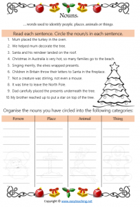 nouns christmas worksheet fun