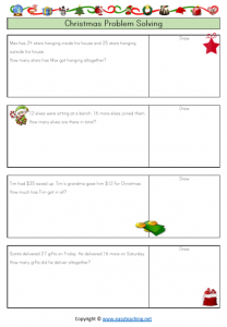 christmas worksheets christmas word problems addition