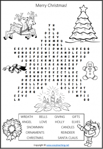 chrismas word search xmas find a word fun kids