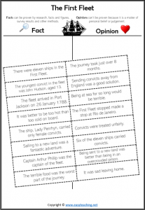 fact opinion worksheets first fleet history cut paste