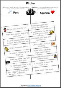 fact opinion worksheets pirates cut paste