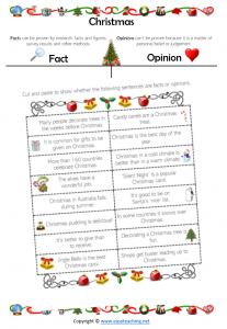 fact opinion christmas worksheets