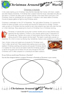christmas around the world worksheets comparing australia