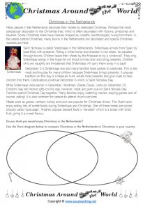 christmas around the world worksheets comparing netherlands