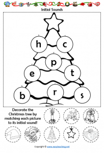 letter sound christmas worksheet cut paste