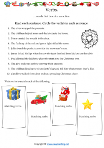 christmas verbs worksheet fun kids