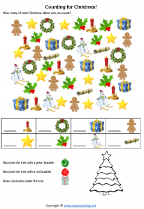 christmas counting worksheet year 1 prep