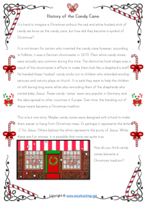 history of candy canes christmas worksheets reading