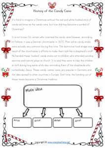 christmas worksheet main idea reading comprehension