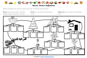 noun verb adjective christmas worksheet