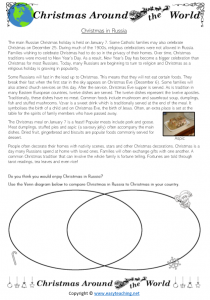 christmas in russia compare activity kids worksheet