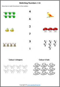 matching numbers worksheet