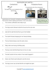 difference between apostrophes possessive nouns contractions worksheets pdf answers