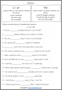 articles in grammar worksheets a an the definite indefinite pdf answers