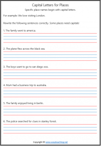 capital letters worksheets proper nouns places punctuation grade year 1 2 pdf