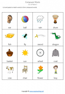 compound words worksheets cut paste match pdf