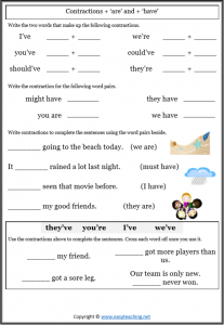 contractions worksheets are have grammar pdf answers