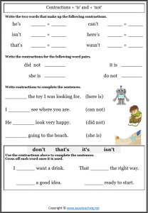 contractions worksheets is not grammar pdf answers