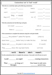 contractions worksheets is not had would grammar pdf answers