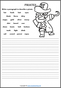 describe a pirate worksheets adjectives writing pdf