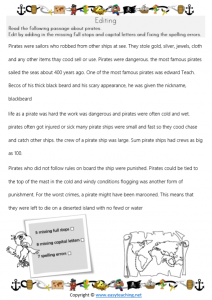 editing worksheet passage pirate worksheets full stops capital letters commas