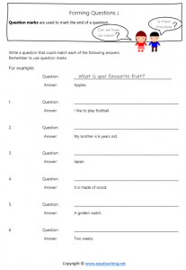 end sentence punctuation worksheets forming questions question marks answers pdf