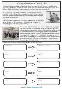 industrial revolution worksheets cause effect pdf consequences affect